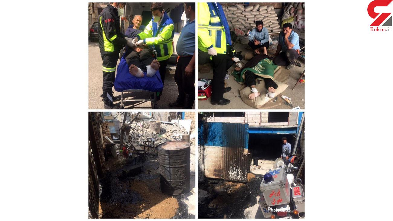 امدادرسانی تکنسین موتورلانس اورژانس تهران به مصدوم حادثه واژگونی بشکه داغ قیـــر
