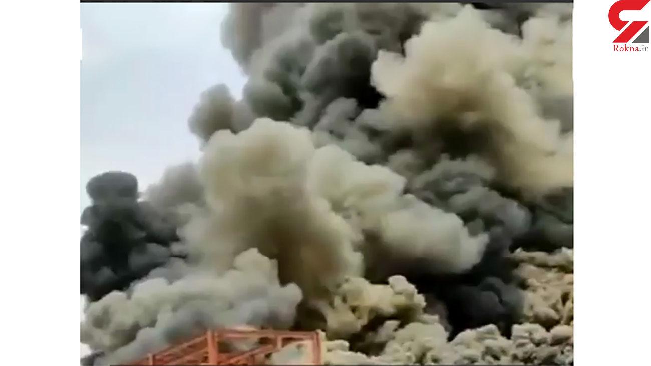 فیلم لحظه آتشسوزی وحشتناک در انبار پتروپالایش کنگان