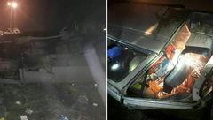 تصادف خونین مینی بوس و سمند در بزرگراه کرج به تهران فاجعه به بار آورد+ فیلم و عکس