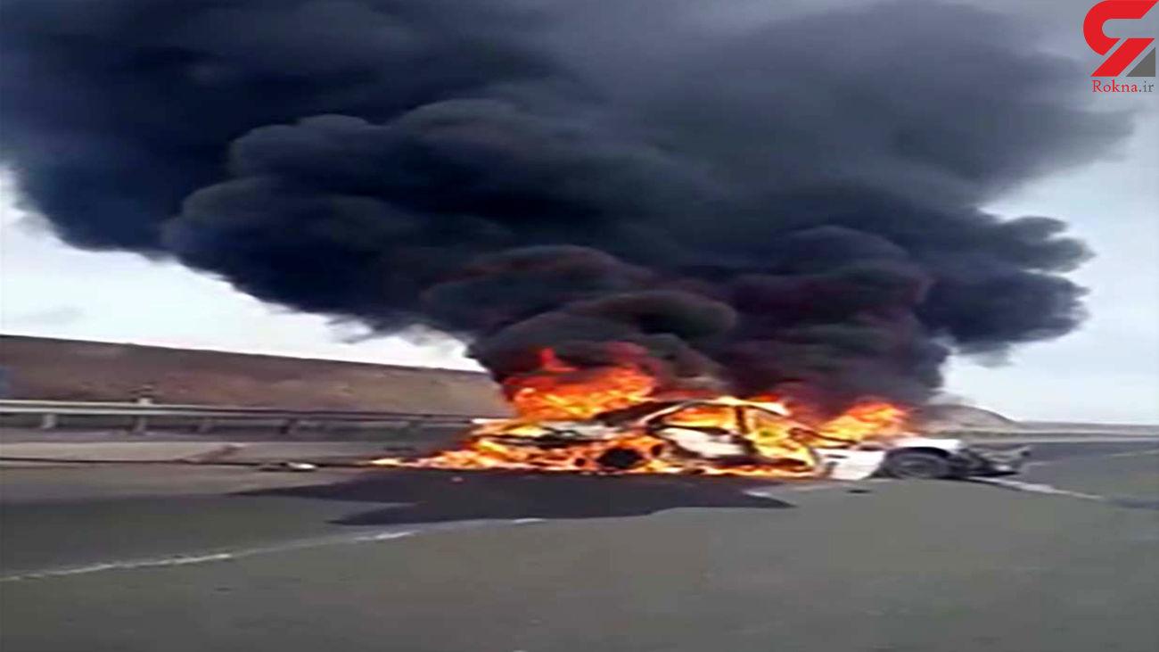 آتشسوزی پژو 206 در محور اردبیل به گرمی + فیلم