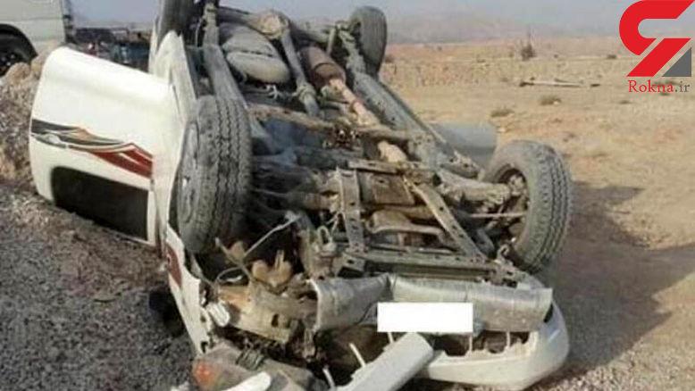 عکس باورنکردنی از چپ کردن تویوتا هایلوکس / صحنه ای مرگبار در جاده شیراز