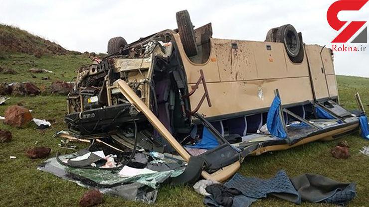مصدومیت ۳۲ کارگر در تصادف رانندگی