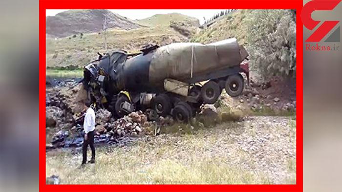 سقوط تریلر حمل قیر درجلفا / صبح امروز 2 تن کشته شدند + عکس
