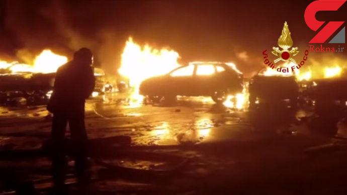 صدها مازراتی در آتش بندر ایتالیا سوخت + تصاویر