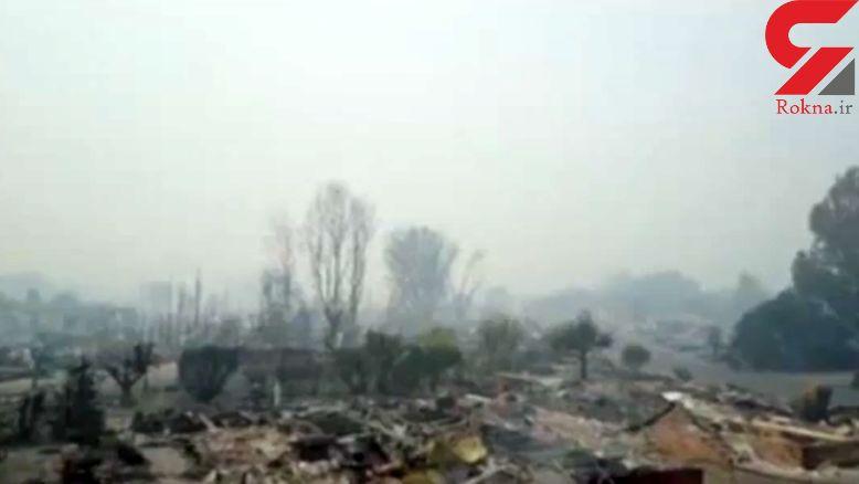 تصاویر هوایی از  کالیفرنیا ی سوخته پس از آتش سوزی+ فیلم واقعا دیدنی