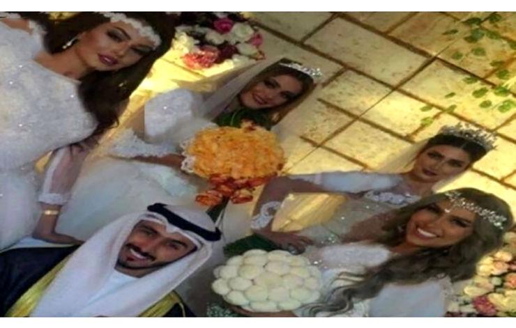 ازدواج همزمان با 4 دختر برای روکمکنی همسر اول + عکس داماد و 4 عروس