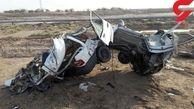 فیلم تکه تکه شدن سرنشینان پراید پس از سقوط کامیون با بار سنگ در آبادان + عکس