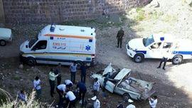 عکس دلخراش سقوط مرگبار پیکان وانت در جاده مرند / 2 تن جان باختند