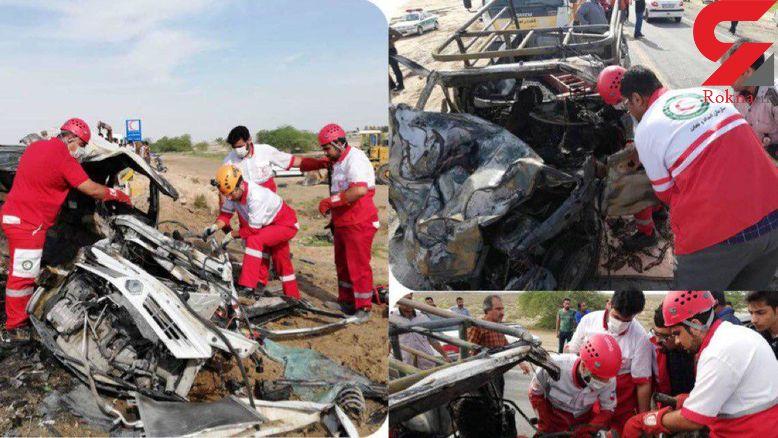 زنده زنده سوختن 3 مسافر در ماشین مچاله شده / در بوشهر رخ داد+عکس