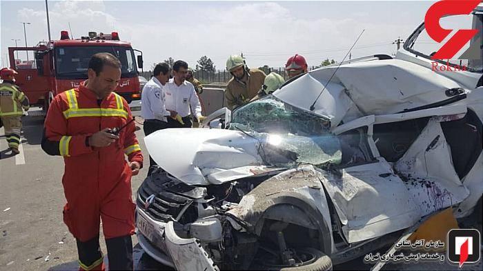 مچاله شدن 2 مسافر در تصادف عجیب آزادراه تهران-قم + عکس های باورنکردنی