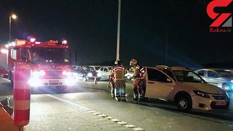 زن جوان در تصادف بزرگراه تهران کرج کشته شد +عکس