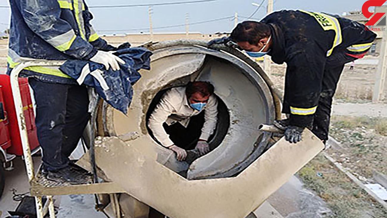 مرگ وحشتناک مرد کازرونی بر اثر سقوط به داخل میکسر سیمان + عکس