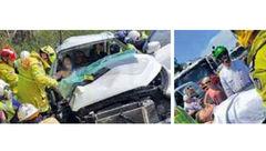 راننده 30 ساعت در میان آهن پاره های ماشین تصادفی گیر کرده بود
