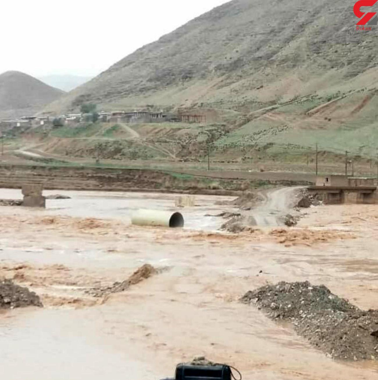 """طغیان رودخانه کشکان؛  راه روستای """"پران پرویز""""بسته شد"""