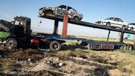 عکسی عجیب از آتش گرفتن تریلی با خودروهای صفر کیلومتر / نیشابور