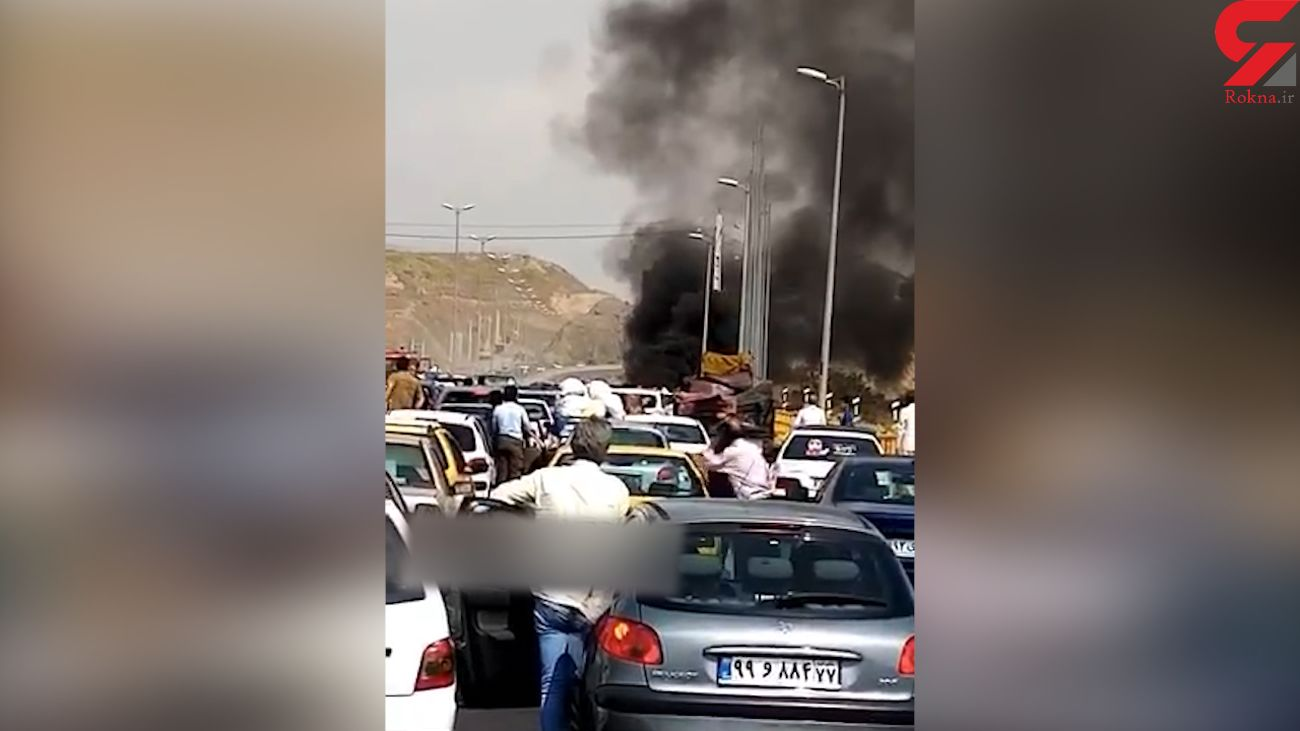 فیلم لحظه آتش سوزی پژو 405 در اتوبان پردیس