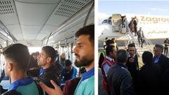 وحشت بازیکنان استقلال خوزستان بخاطر نقص فنی هواپیمای تهران اهواز  + عکس