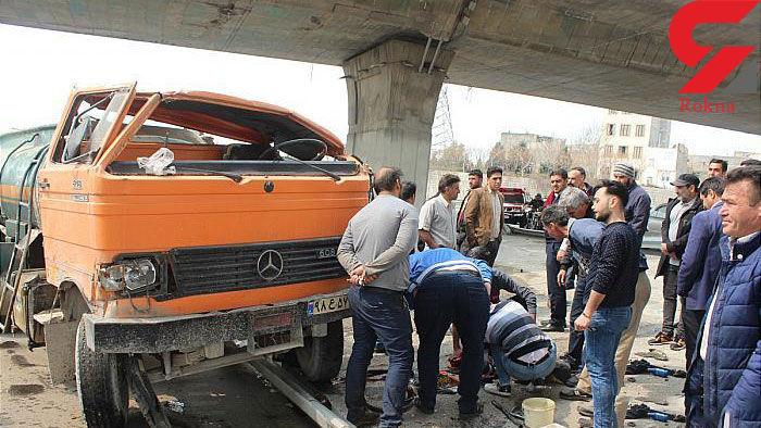 واژگونی خونین خاور تانکر گازوئیل در خیابان احسان پایتخت+ تصاویر