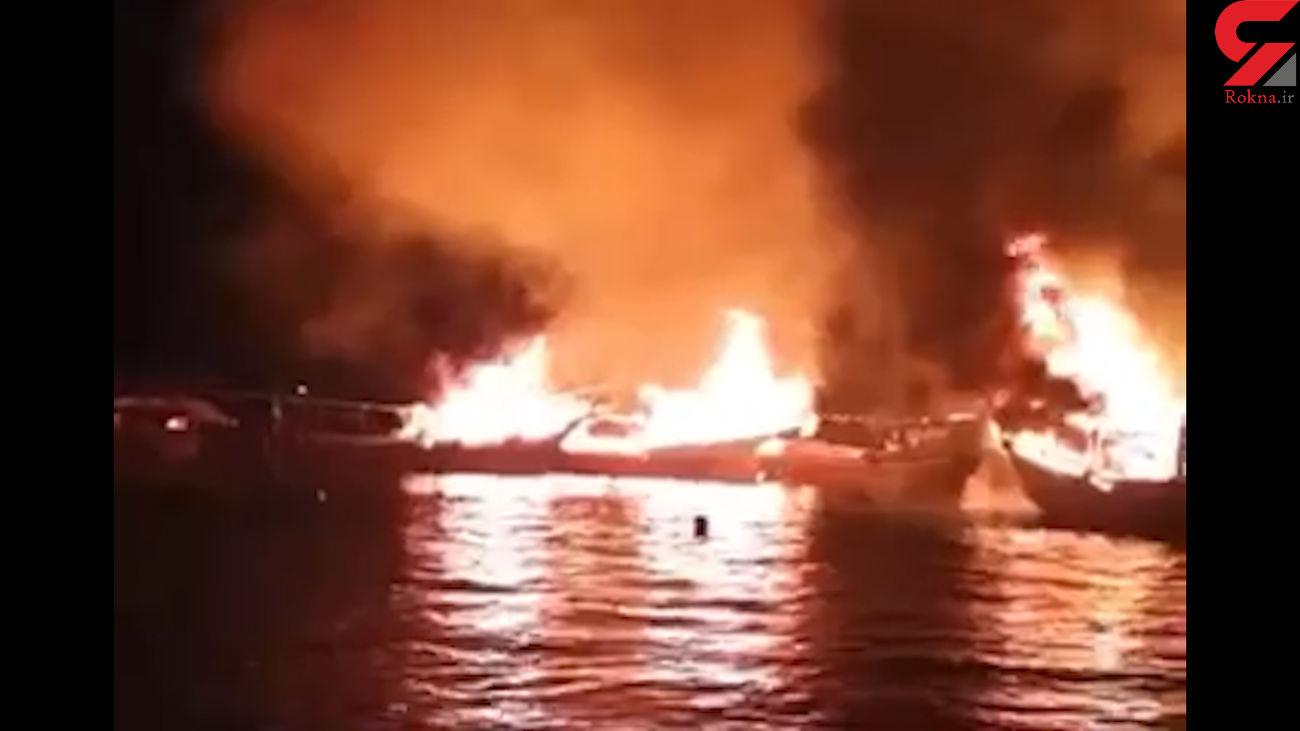 فیلم و عکس از جزئیات آتشسوزی بزرگ در اسکله صیادی بندر کنگ
