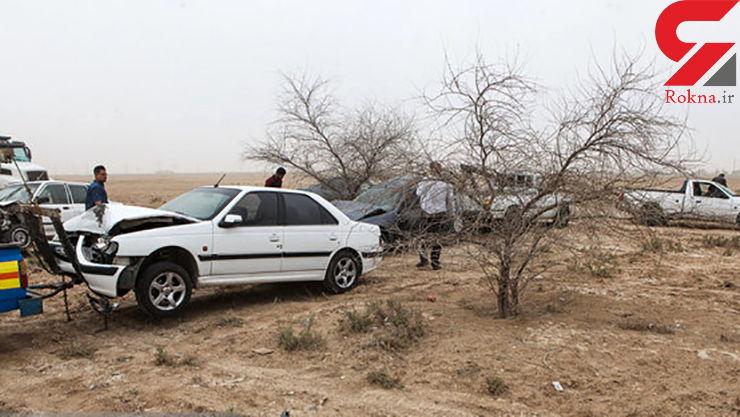 2 کشته و 8 مجروح در تصادف مرگبار پژو و مینیبوس در شهمیرزاد