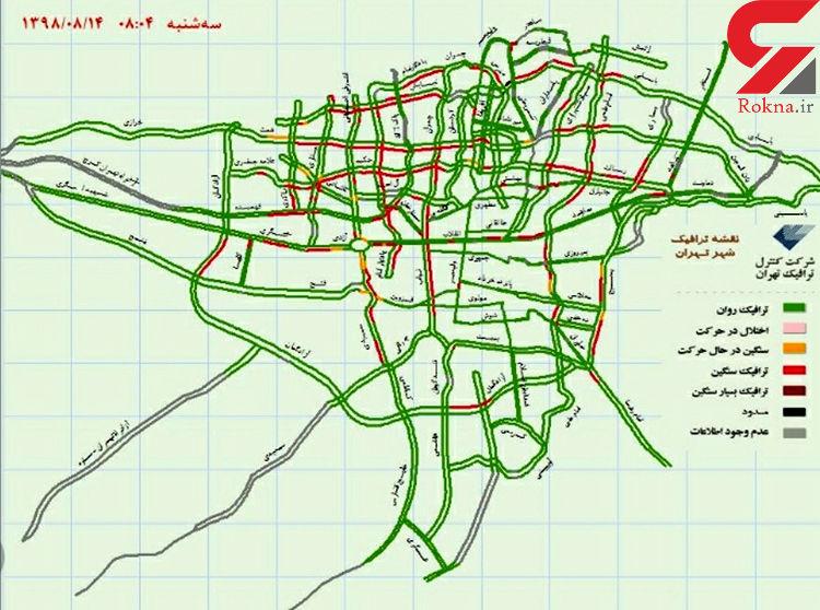 وضعیت ترافیکی معابر بزرگراهی پایتخت در چهاردهمین روز آبان