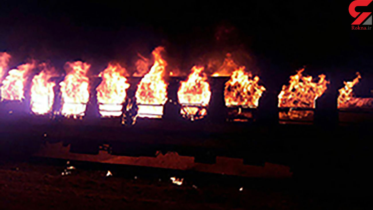 ریزش پل در اثر آتش سوزی مهیب قطار روی آن در آمریکا + فیلم