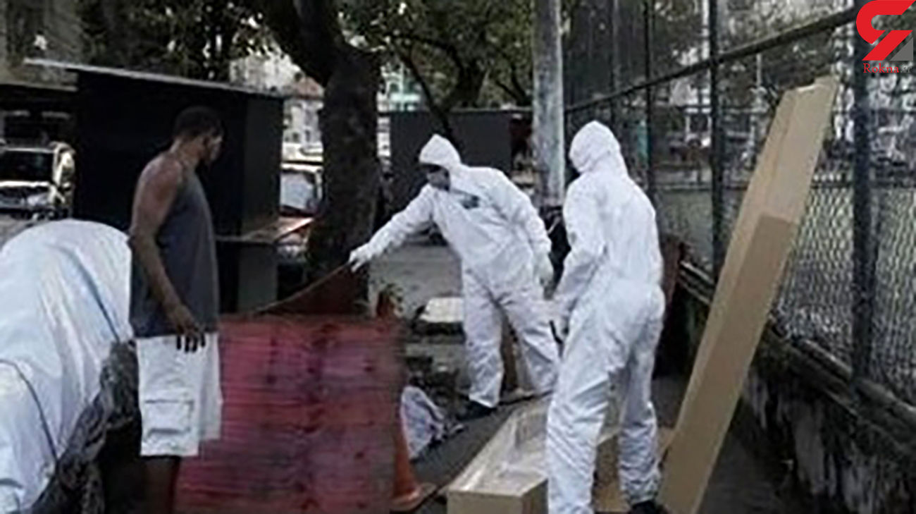 بازی فوتبال کنار جسد کرونایی در خیابان! / برزیل + عکس ها