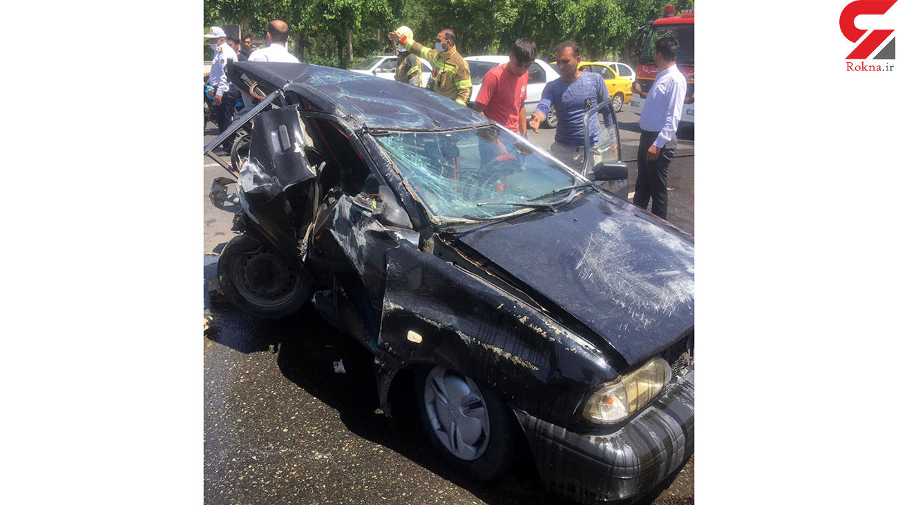 پراید مچاله شد ولی مرد تهرانی زنده ماند + عکس های محل حادثه