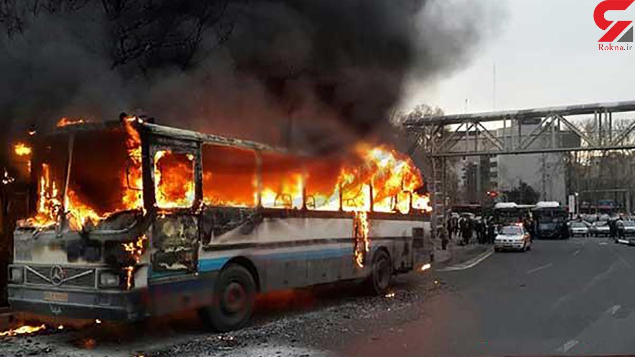 اتوبوس شرکت واحد در تبریز در آتش سوخت