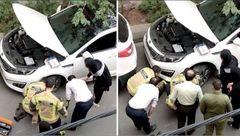 پلیس ناجا، آتشنشانی و مردم برای نجات گربه بدشانش بسیج شدند +عکس جالب