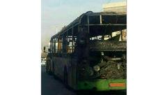 وحشت در 2  اتوبوس خط آزادی به شهرک ولیعصر / هر دو آتش گرفتند + عکس