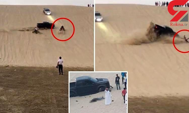 تصادف مرگبار راننده چهارچرخ با خودروی تویوتا در بیابان+عکس