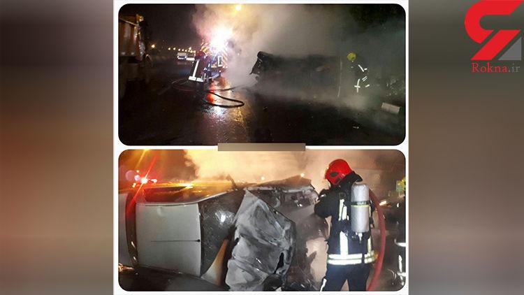 مصدومیت دو نفر بر اثر واژگونی و حریق پژو در مشهد+عکس