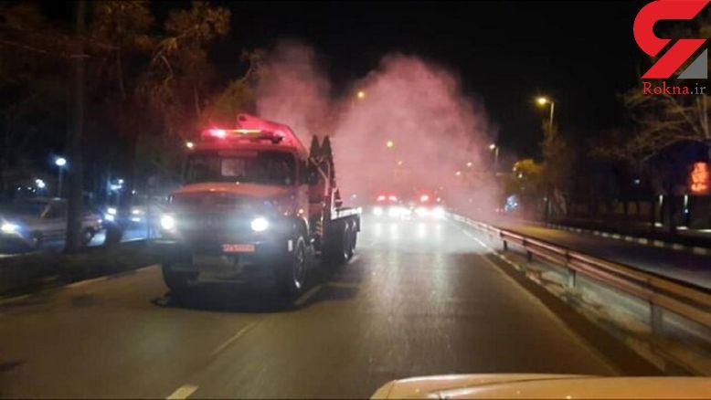ضدعفونی گسترده معابر و محلات شهر تبریز به صورت شبانه