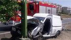 تصادف با تیرچراغ برق در آزادگان /وانت پراید ترکید + عکس