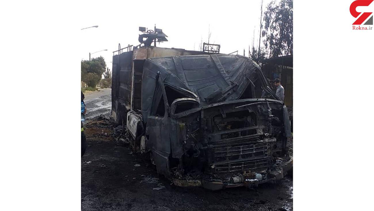 عکس / ماشین آتش نشانی هم سوخت / در آتش سوزی بزرگ قم رخ داد