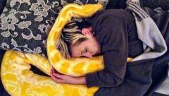 این زن جوان شب ها با غول پیکرترین مار دنیا دروی تخت می خوابد + تصاویر