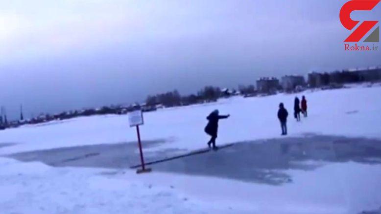سقوط پیرزن در دریاچه سرد + فیلم