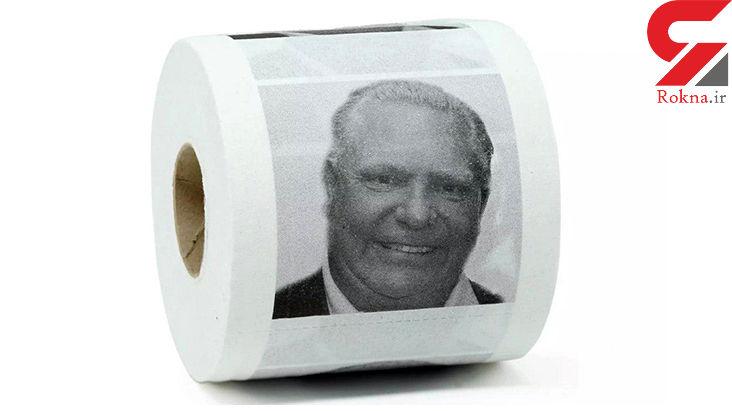 مدل جدید کار خیر / دستمال توالت با عکس چهره نخست وزیر!+عکس