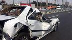 تصادف زنجیره ای در جاده قدیم کرج / نجات راننده پژو از زیر تریلی