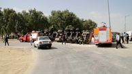 واژگونی خونین تریلی در شیراز + عکس