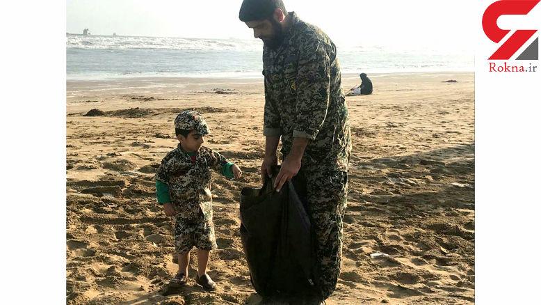 ساحل دریا در بندر دیر توسط بسیجیان پاکسازی شد