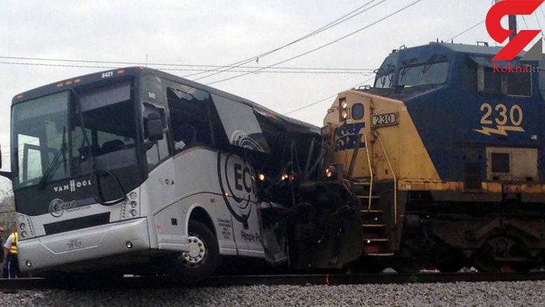 تصادف قطار و اتوبوس 4 کشته داد+ تصاویر
