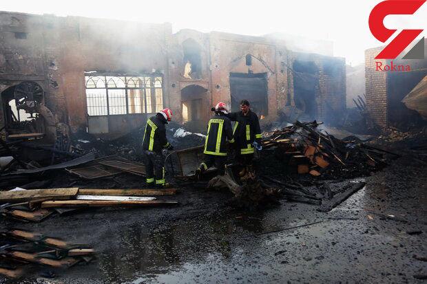 بازار کهنه قم در آتش سوخت + تصاویر