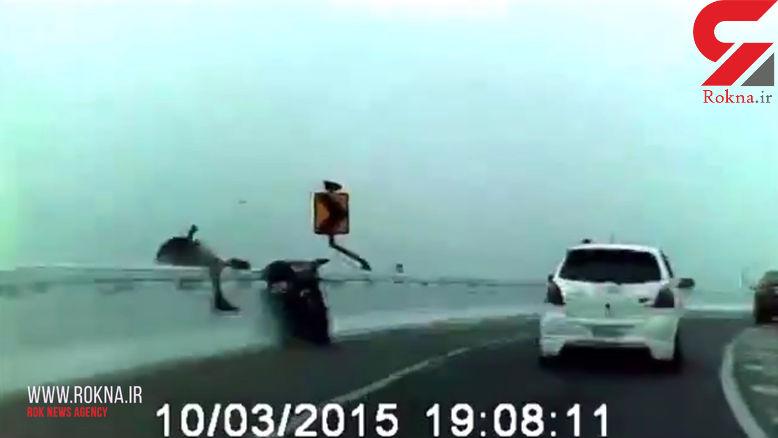 لحظه دلهره آور تصادف موتورسوار و سقوط از روی پل +فیلم