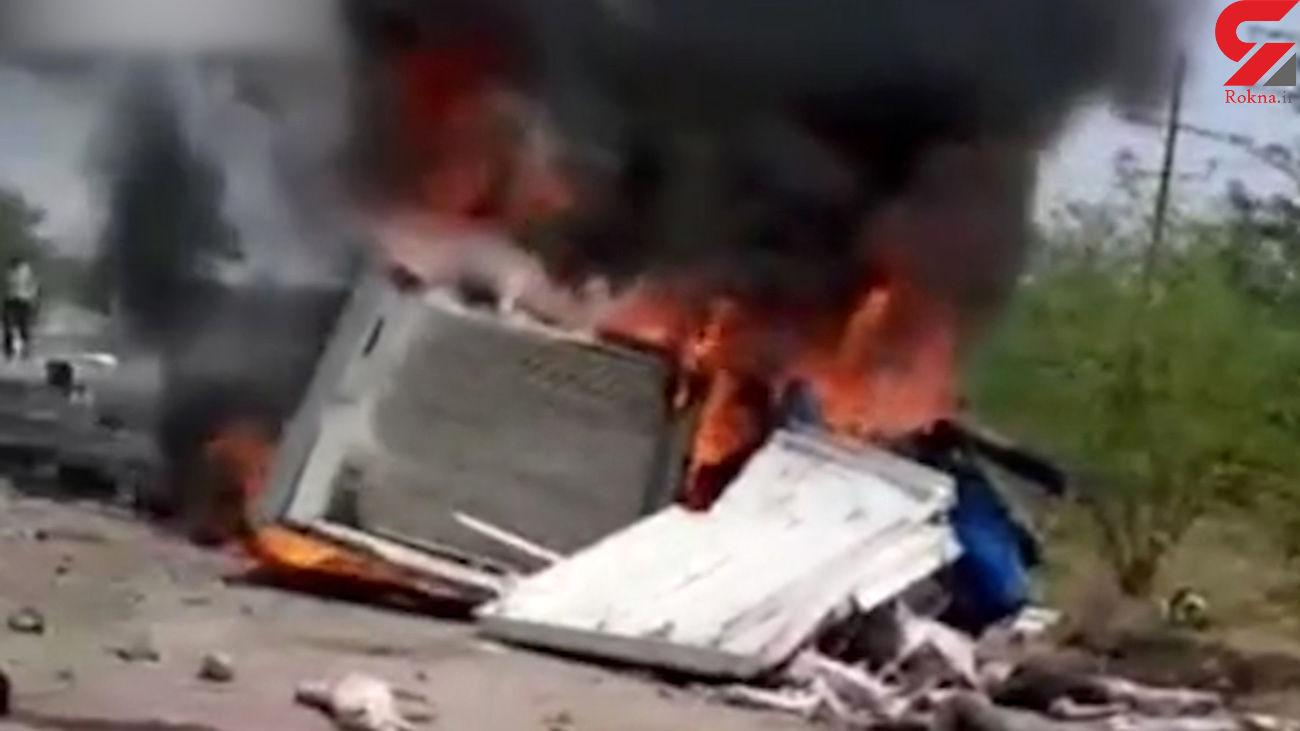 تصادف و انفجار آتشین در گمبوعه اهواز / کشته شدگان سوختند + فیلم