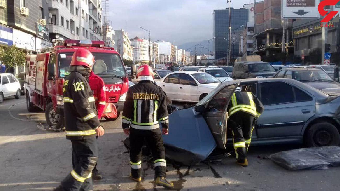 فیلم تصادف شدید در خیابان اصلی گرگان /  پاترول چپ کرد + عکس