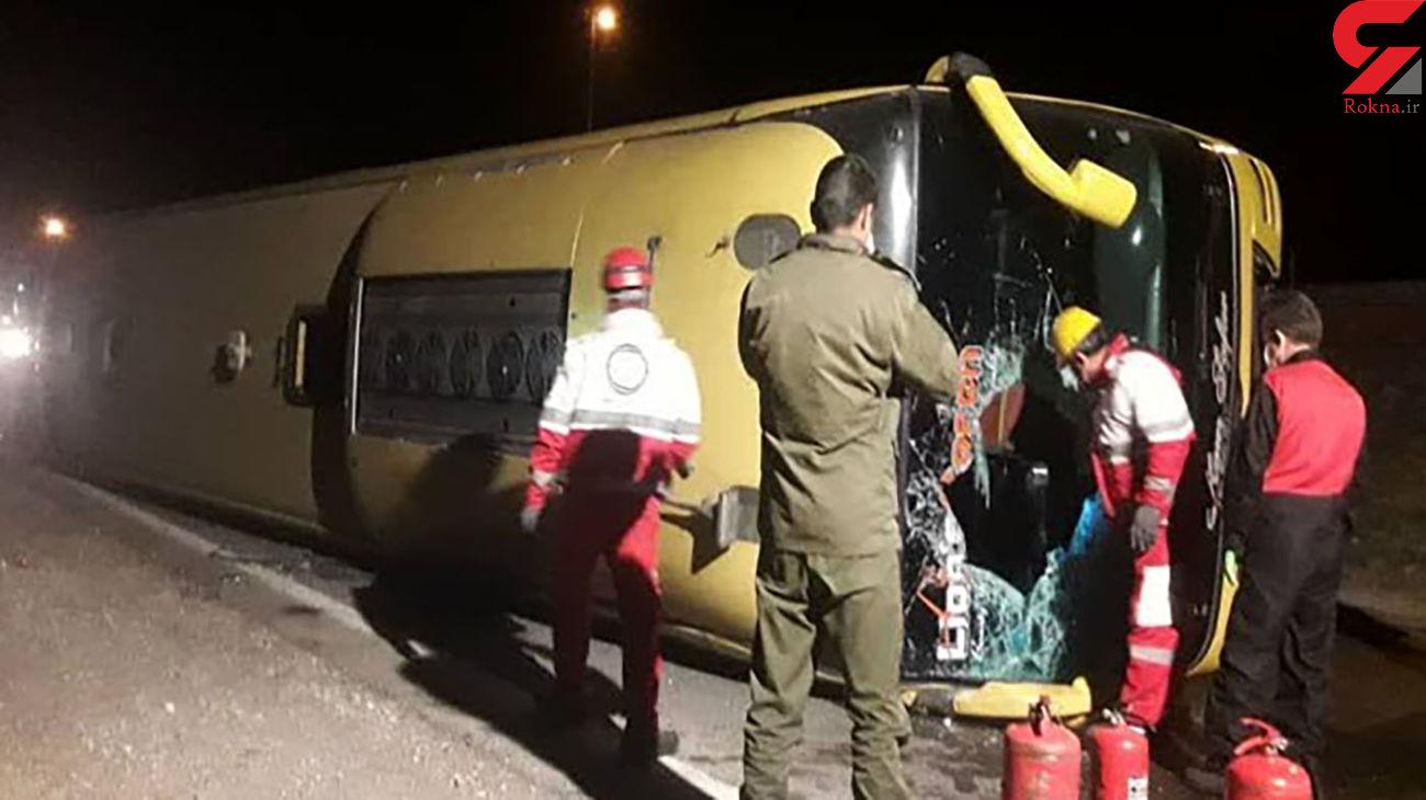 واژگونی اتوبوس مسافربری در جاده کرمانشاه _ لرستان