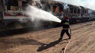 آتش سوزی در قطار مسافربری یزد به تهران + عکس