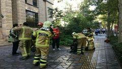 آتش سوزی تابلوهای برق ساختمان 10 طبقه در دروس + عکس